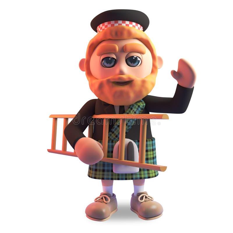 3d滑稽的有运载梯子,3d的红色胡子和格子呢苏格兰男用短裙的动画片苏格兰人例证 皇族释放例证