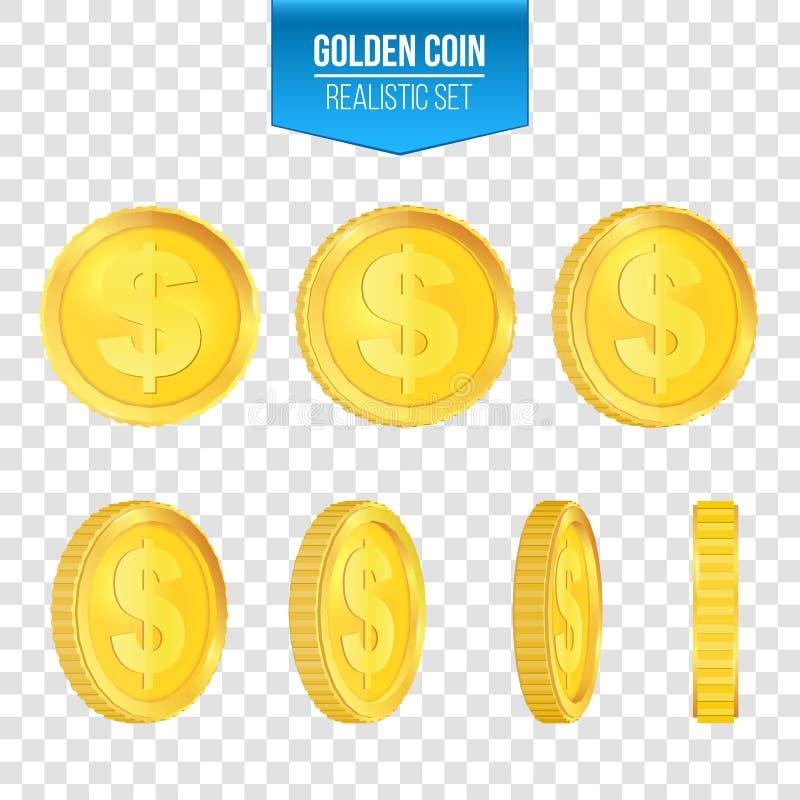 3d漂浮在不同的观点的金币的创造性的传染媒介例证 隔绝在透明背景 美元的符号 皇族释放例证