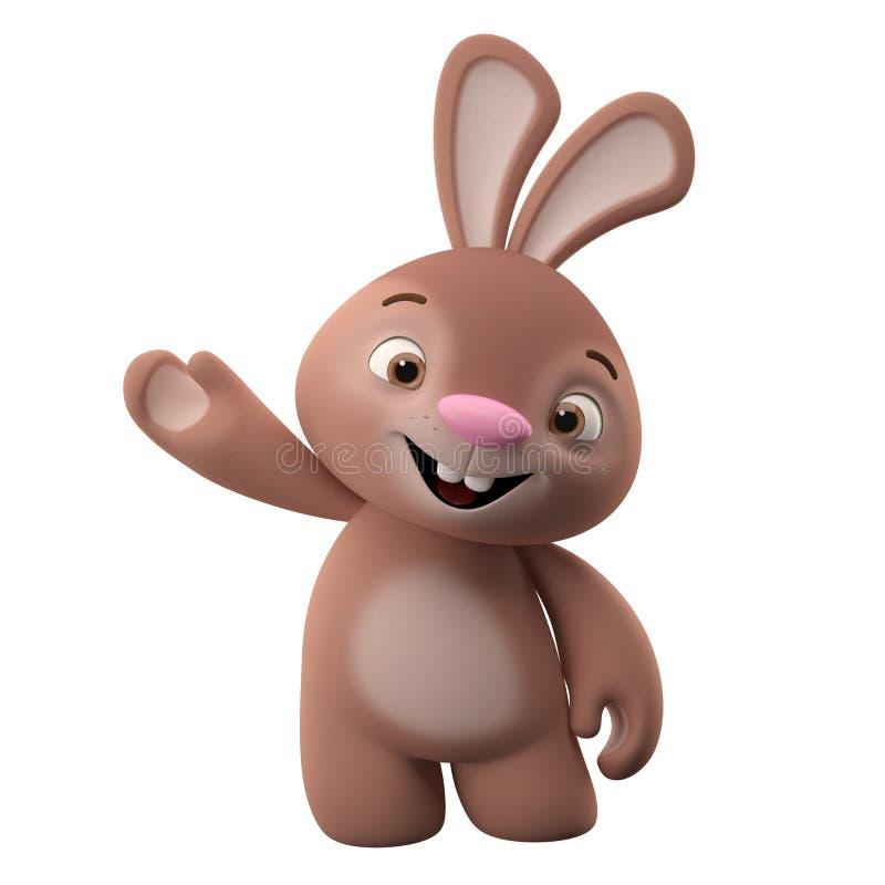 3D漫画人物,复活节兔子 向量例证