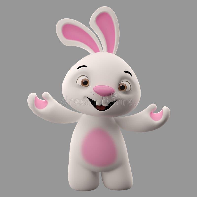 3D漫画人物,复活节兔子 库存图片