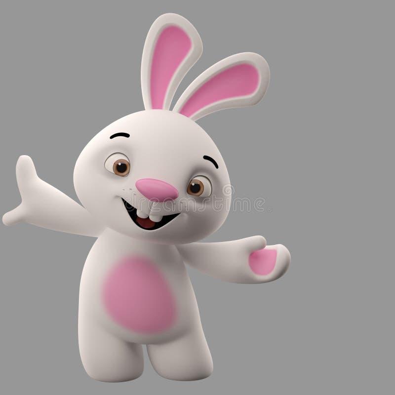 3D漫画人物,复活节兔子 皇族释放例证