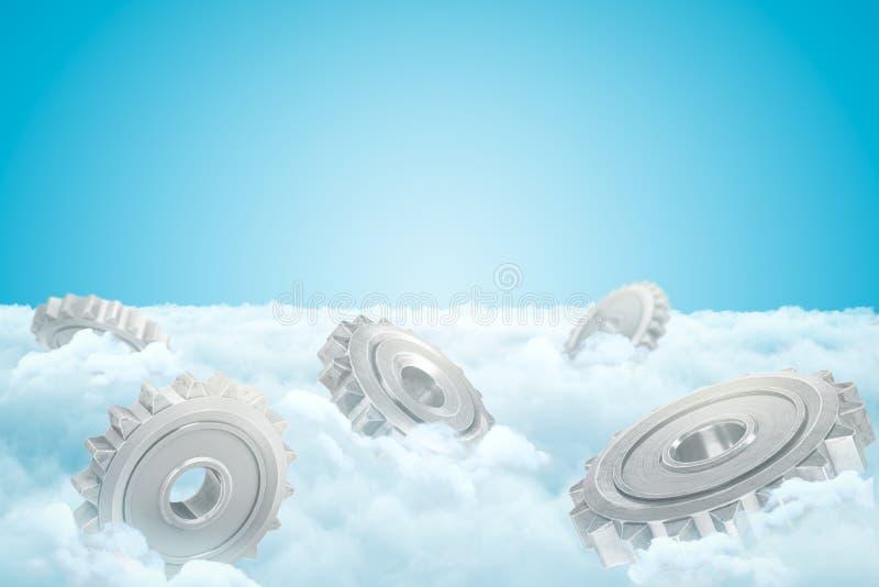 3d灰色链轮白色云彩翻译在天空蔚蓝背景的 皇族释放例证