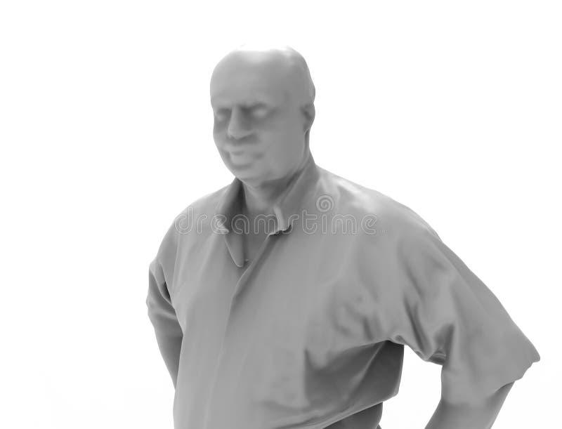 3d灰色3d的翻译在白色演播室背景中扫描了人身分 向量例证