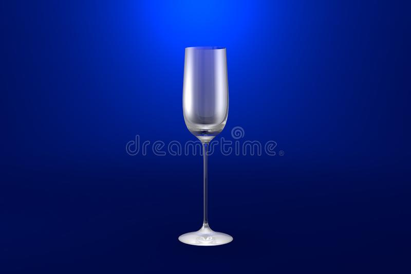 3D热忱的烈酒杯的例证在蓝色生动的背景-水杯的回报 皇族释放例证