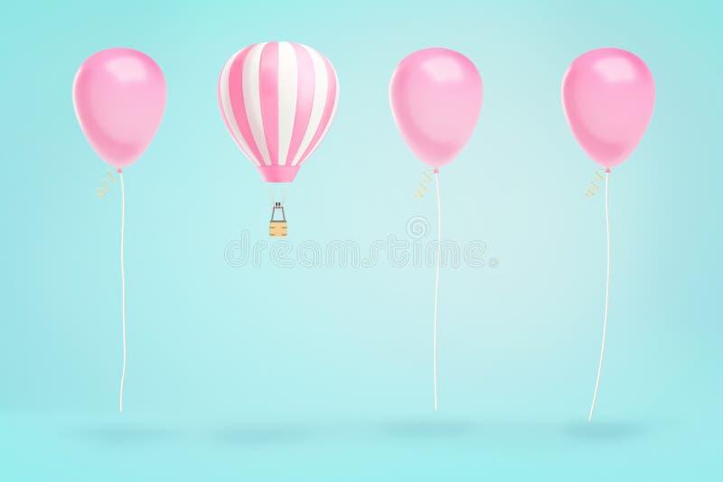3d热空气气球翻译盘旋在相同桃红色党气球线的在蓝色背景的 向量例证