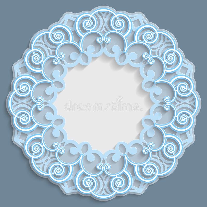3D照片或图片,与装饰品的小插图,鞋带边界,浅浮雕装饰品,透雕细工样式,模板的圆的框架 库存例证