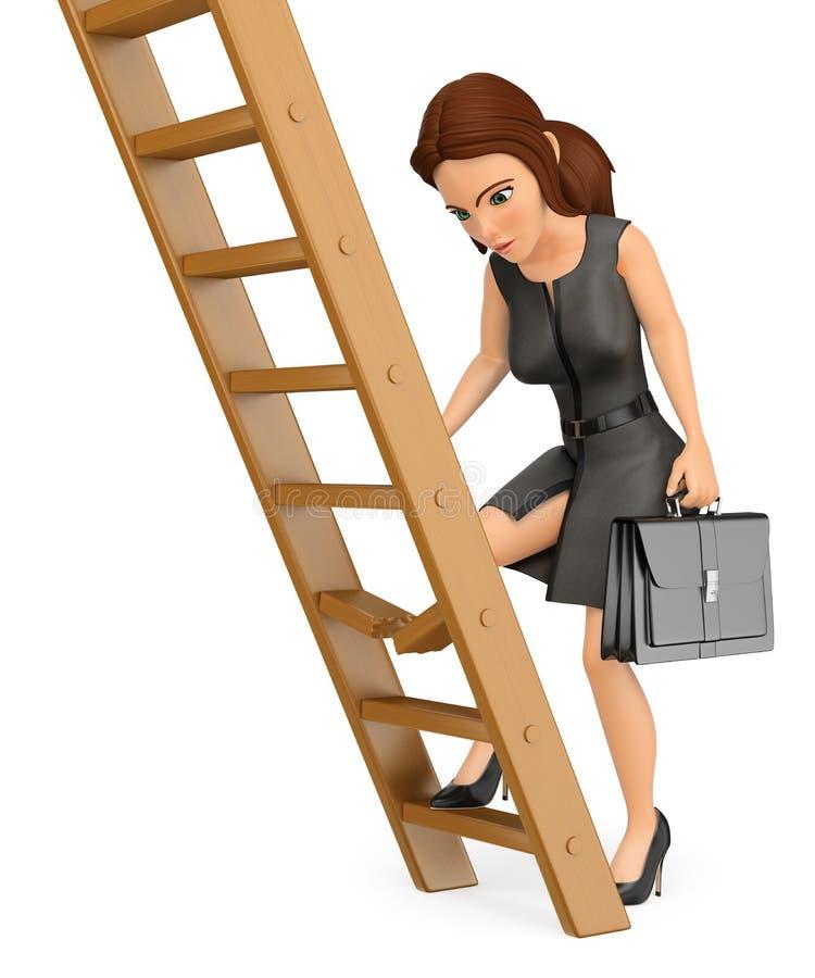 3D爬上一架残破的梯子的女商人 向量例证