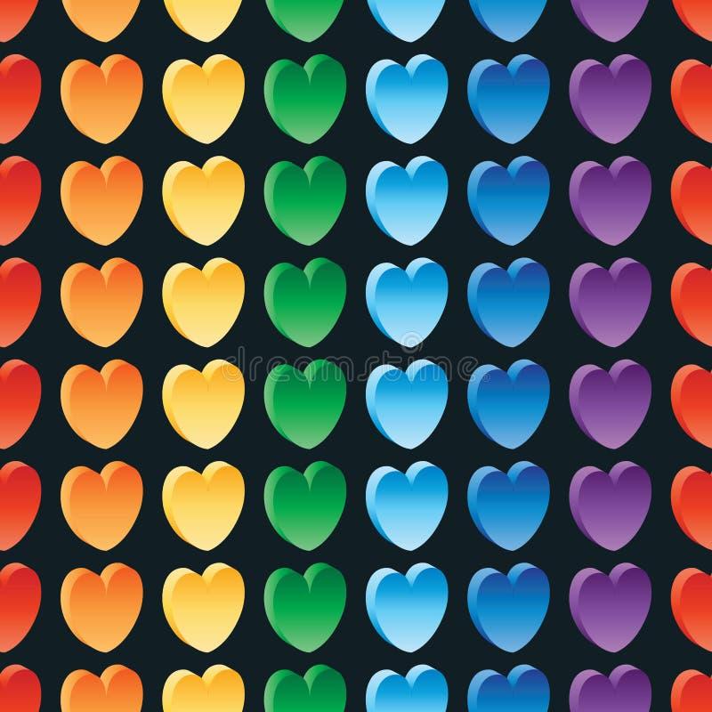 3d爱彩虹无缝的样式 皇族释放例证
