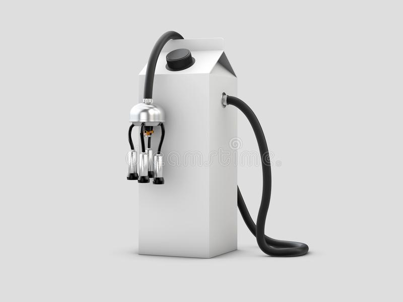 3d牛奶纸盒的例证有挤奶机的,在灰色背景 皇族释放例证