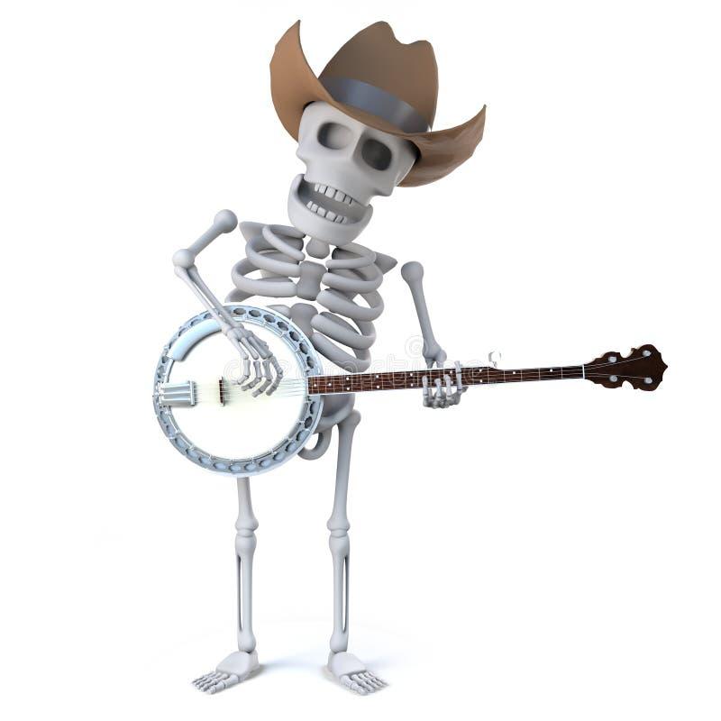 3d牛仔骨骼播放班卓琵琶尤克里里琴 皇族释放例证