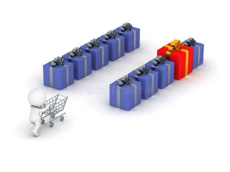 3D特别礼物的人购物 向量例证