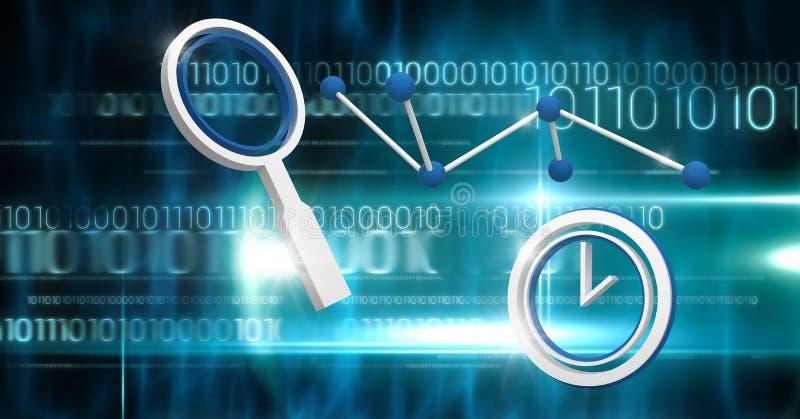 3D犯罪现场调查科学技术象有二进制编码背景 皇族释放例证