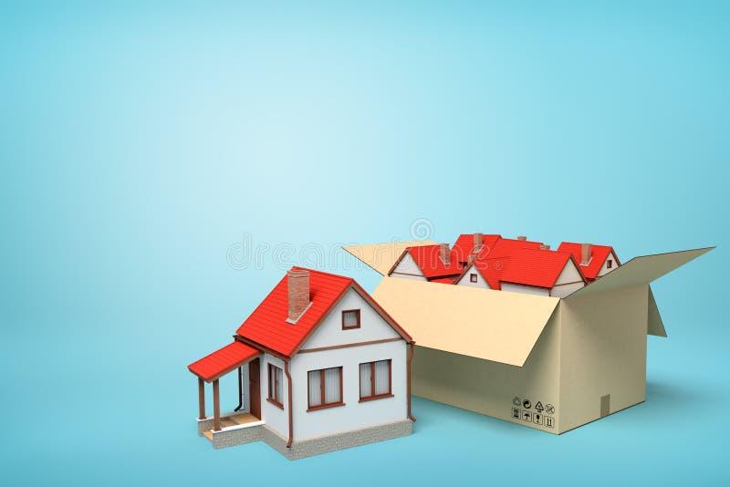3d独立式住宅翻译纸盒箱子的在蓝色背景 免版税库存照片