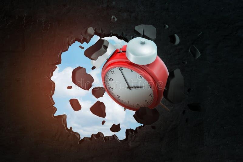 3d猛击在黑墙壁的红色闹钟特写镜头翻译大孔有墙壁飞行片断的在和与蓝色附近 皇族释放例证