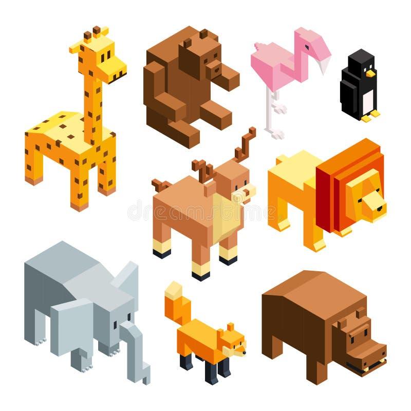 3D玩具动物 等量图片孤立 库存例证