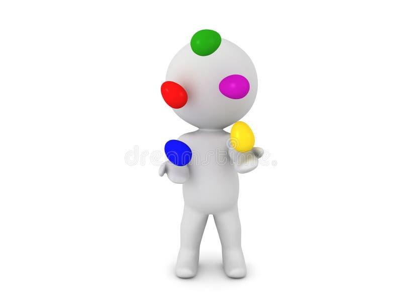 3D玩杂耍五颜六色的复活节彩蛋的字符 库存例证