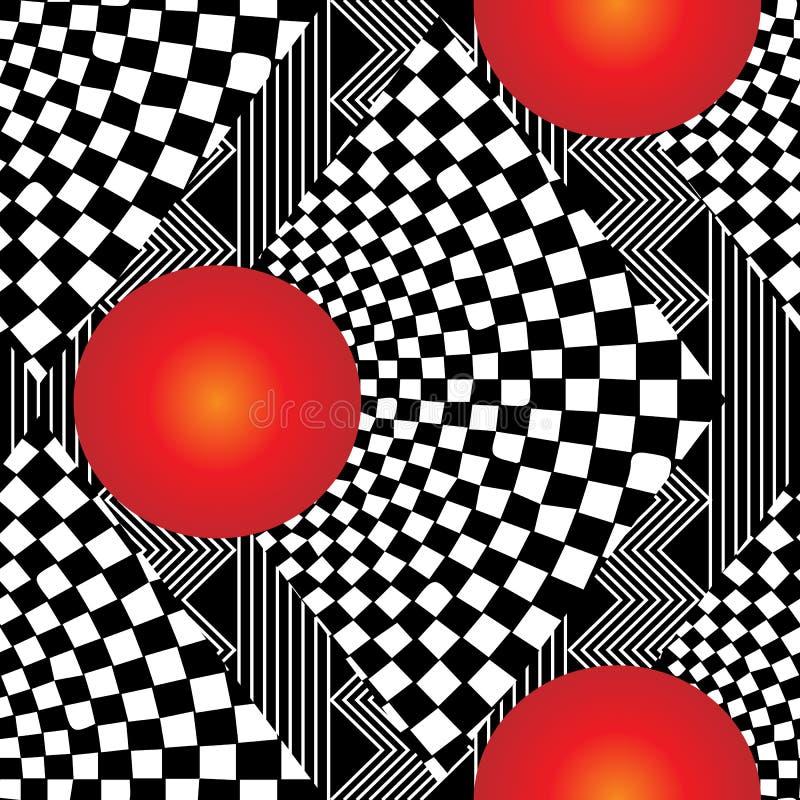 3d现代几何方格的无缝的样式 库存例证