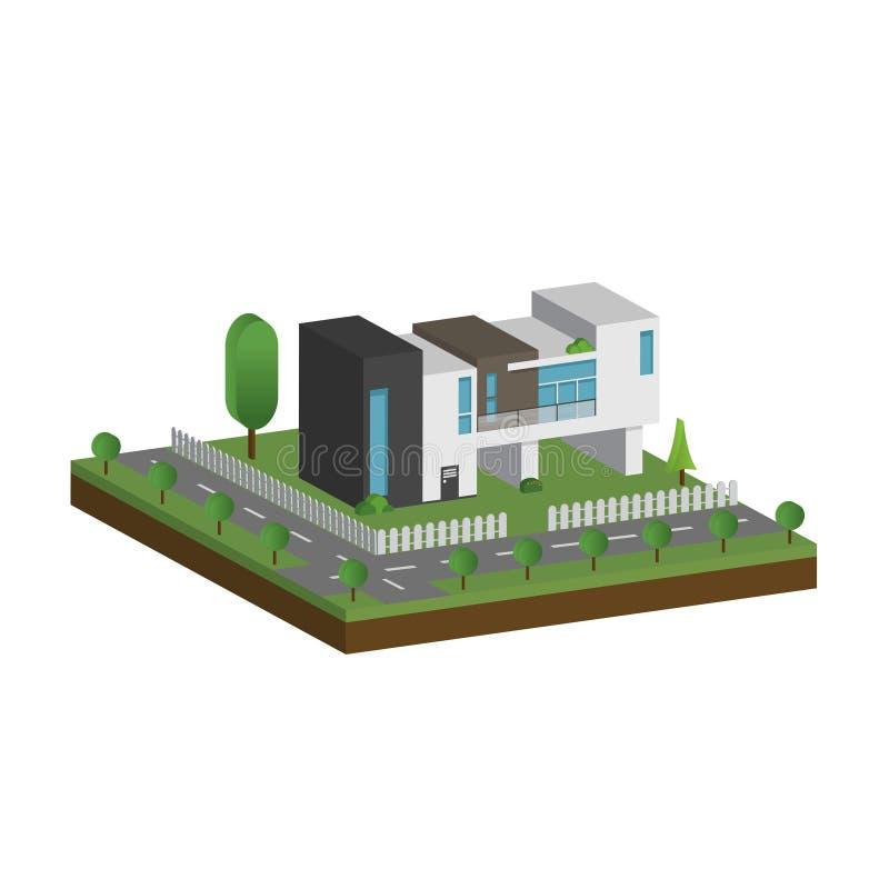 3D现代房子和环境与树、篱芭和路,等量现代大厦和建筑学与路一起 库存例证