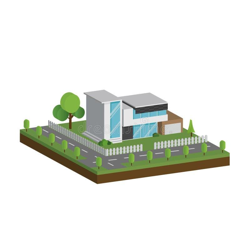 3D现代房子和环境与树、篱芭和路,等量现代大厦和建筑学与路一起 皇族释放例证