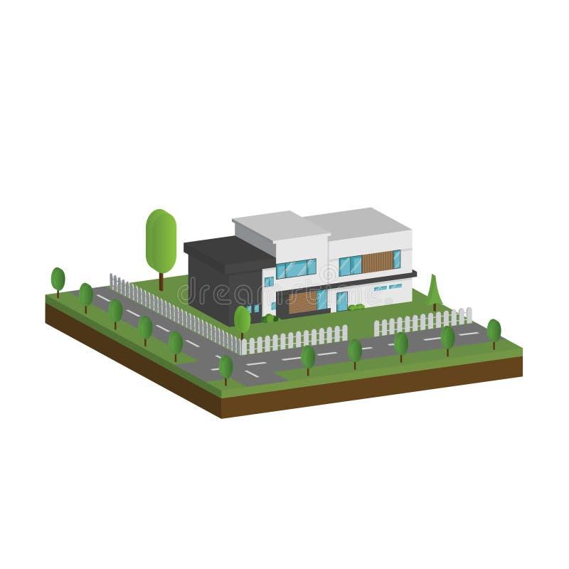 3D现代房子和环境与树、篱芭和路,等量现代大厦和建筑学与路一起 向量例证