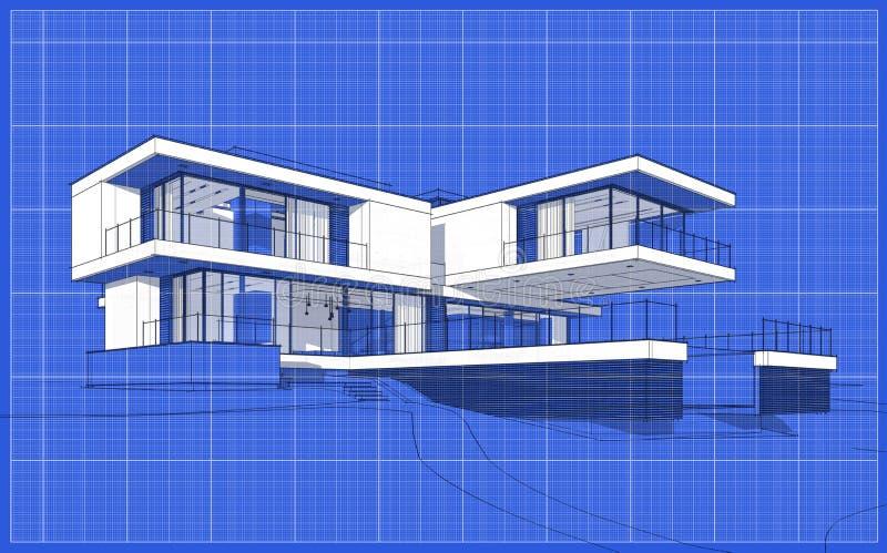3d现代房子翻译剪影  向量例证