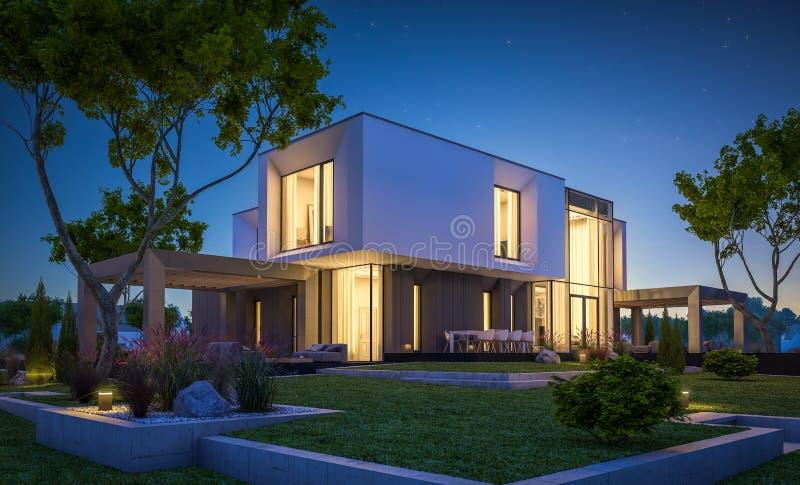 3d现代房子翻译在庭院里在晚上 图库摄影