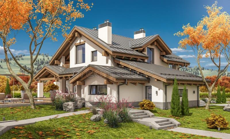 3D现代房子翻译  向量例证