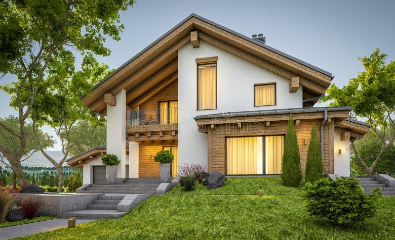 3d现代舒适房子翻译瑞士山中的牧人小屋样式的 图库摄影