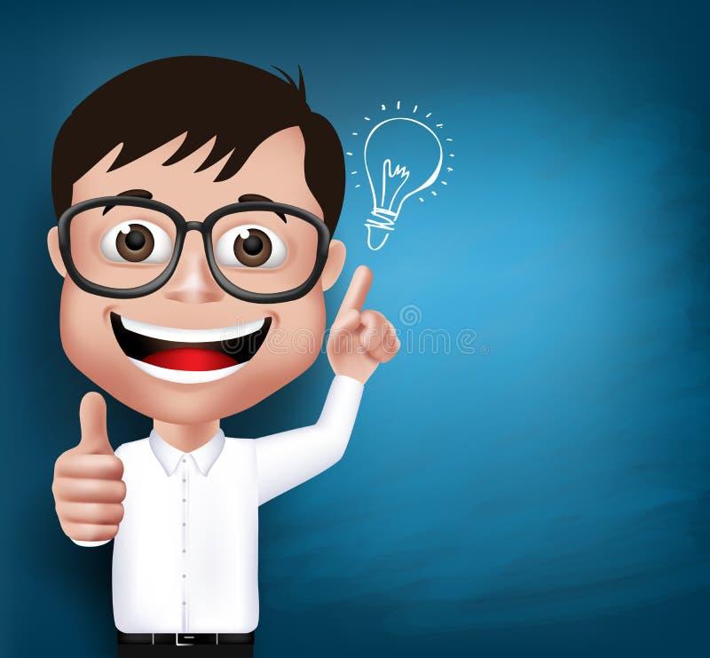 3D现实书呆子男生学生或教授 向量例证