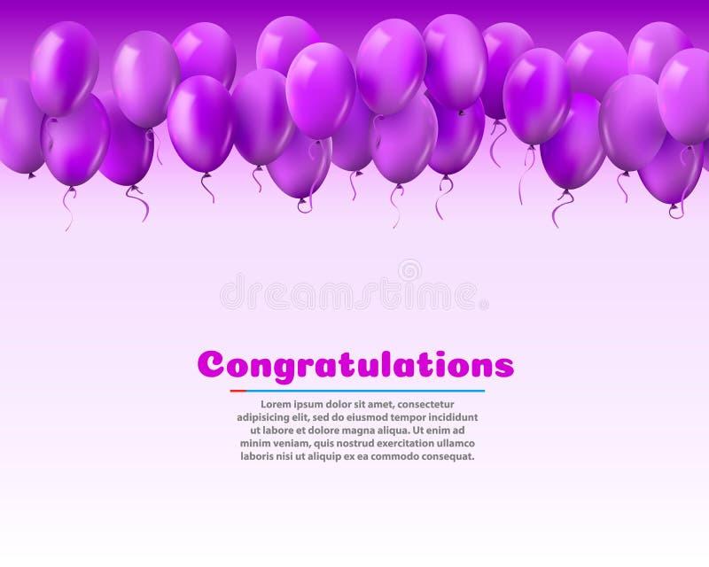3d现实五颜六色的束飞行为党和庆祝的生日气球与空间消息的 向量例证