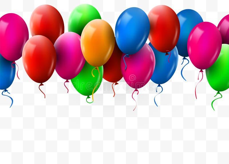 3d现实五颜六色的束飞行为党和庆祝的生日气球 o 皇族释放例证
