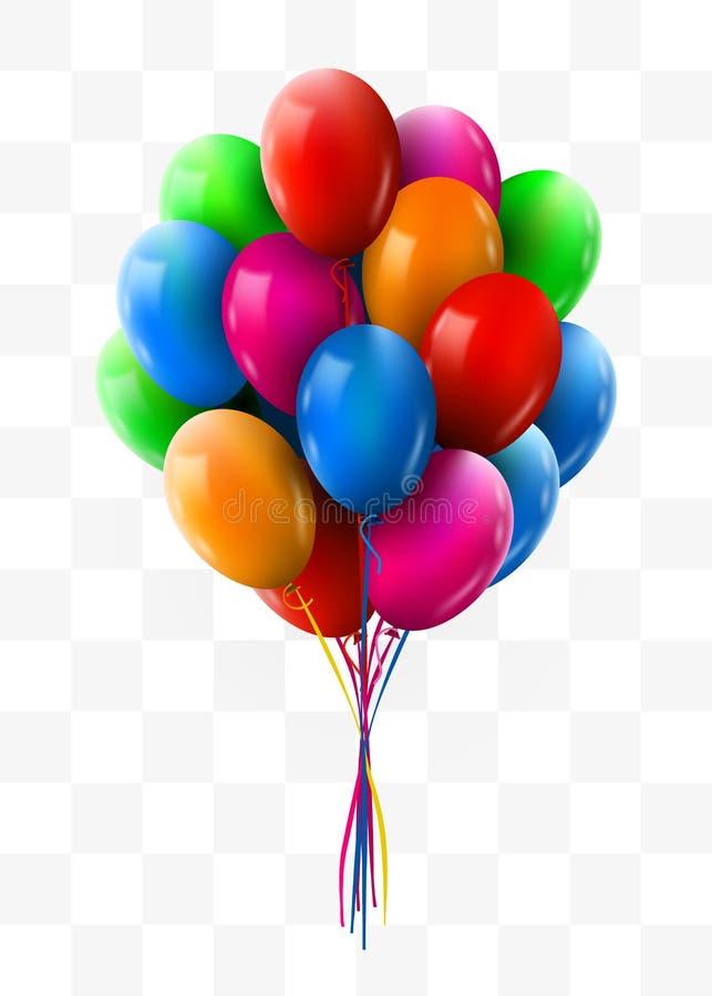 3d现实五颜六色的束飞行生日气球 党和庆祝概念 库存例证