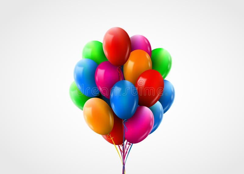 3d现实五颜六色的束飞行的生日气球 r 向量例证