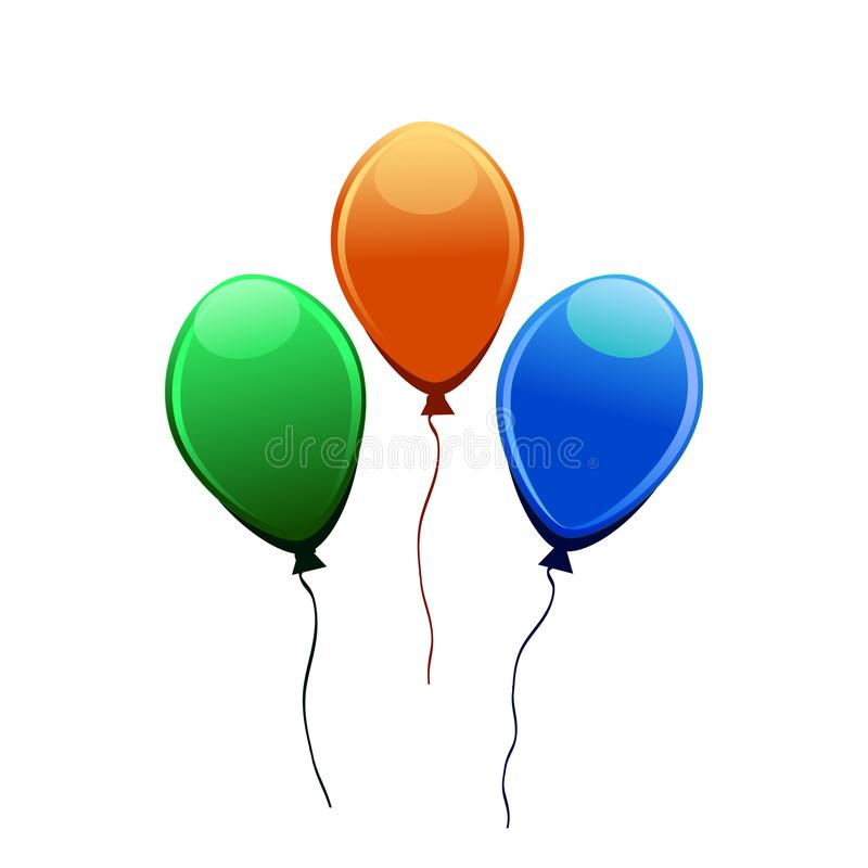 3d现实五颜六色的气球 飞行光滑的气球的假日例证 皇族释放例证