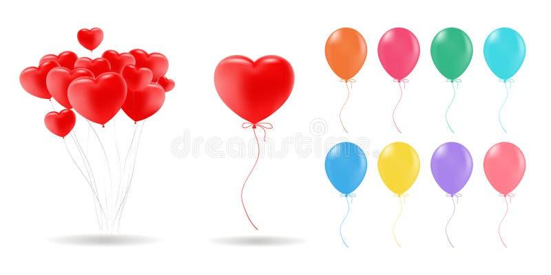 3d现实传染媒介氦气气球红色的汇集,金子,黄色,紫色,蓝色,绿色 对生日,党 皇族释放例证