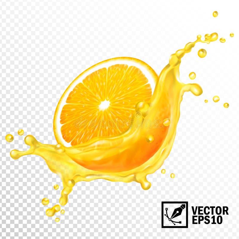 3d现实传染媒介透明飞溅切了橙汁 编辑可能的手工制造滤网 库存例证