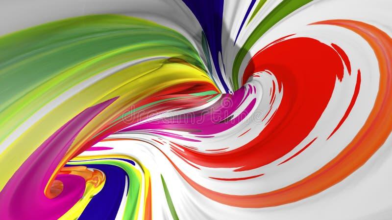 3d现实刷子冲程 抽象数字颜色油漆背景 现代五颜六色的流程 创造性的生动的3d流程流体 库存图片