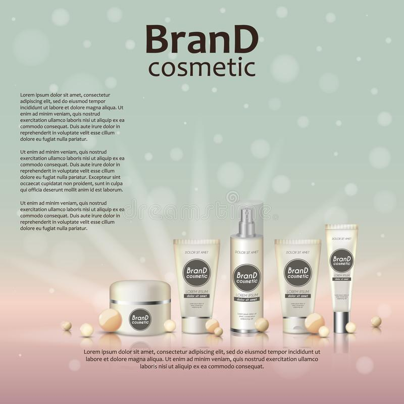 3D现实化妆瓶广告模板 在发光的背景的化妆品牌广告构思设计与珍珠和闪闪发光 库存例证