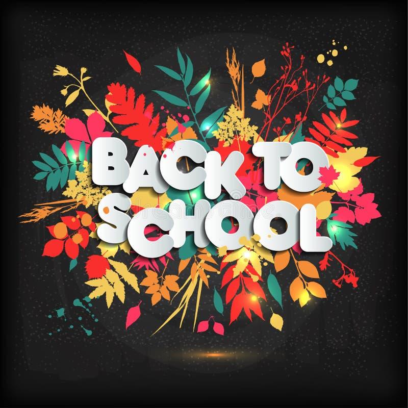 3D现实回到学校标题在一个黑板的海报设计有秋叶的 也corel凹道例证向量 皇族释放例证