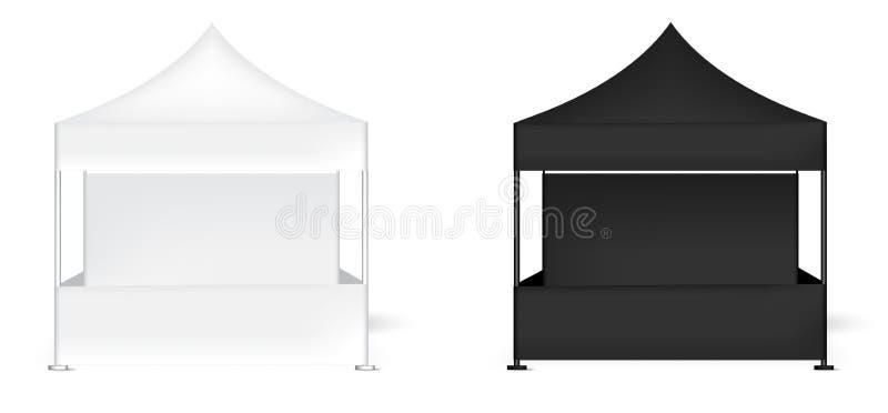 3D现实帐篷显示墙壁POP摊的嘲笑待售营销促进陈列背景例证 向量例证