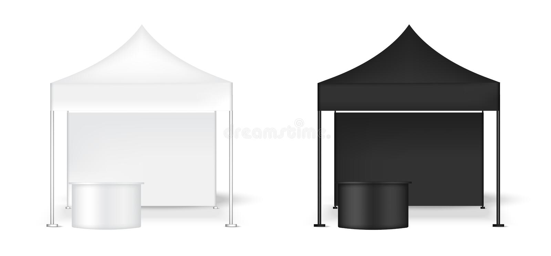 3D现实帐篷显示墙壁POP摊的嘲笑有表的待售营销促进陈列背景例证 皇族释放例证