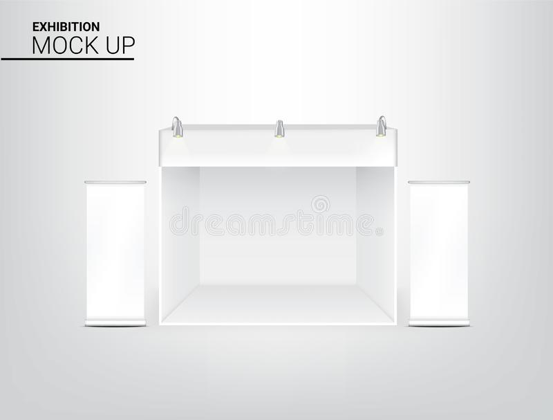 3D现实帐篷的嘲笑显示商店销售营销促进陈列的POP摊与金属聚光灯灯并且卷起 向量例证