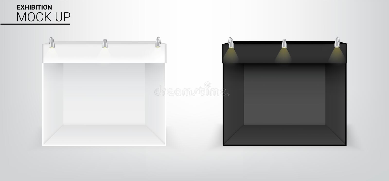 3D现实帐篷的嘲笑显示商店销售营销促进陈列的POP摊有金属聚光灯灯背景 皇族释放例证