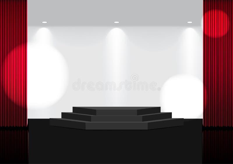 3D现实开放红色帷幕在阶段或戏院的嘲笑展示、音乐会或者介绍的与聚光灯背景例证 库存例证