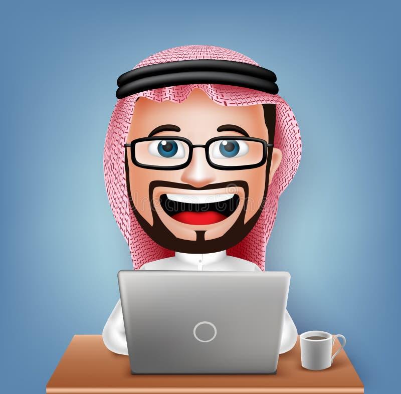 3D现实沙特阿拉伯商人漫画人物坐的工作 向量例证