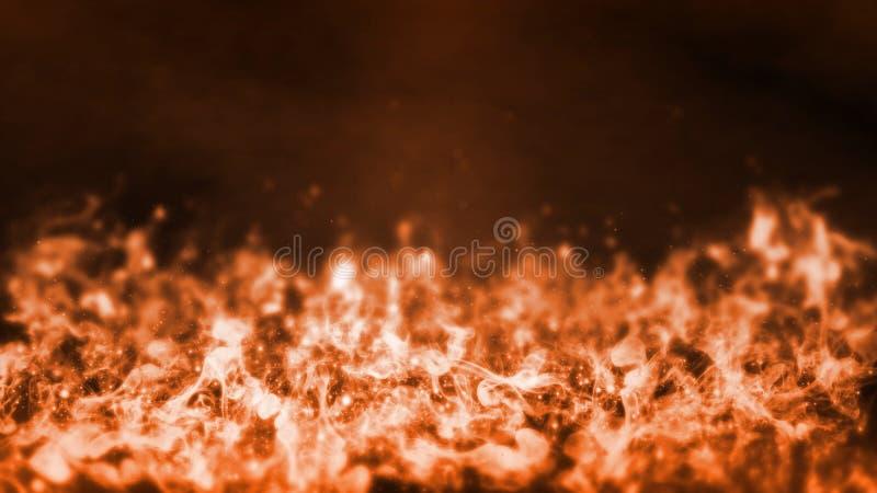 3D现实火发火焰底部翻译背景的与火光和发光的尘土 免版税库存照片