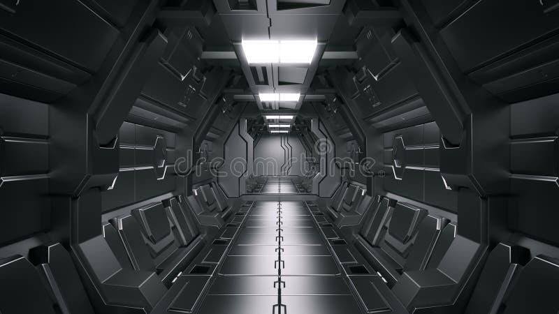 3D现实科学幻想小说太空飞船走廊科学背景翻译  库存例证