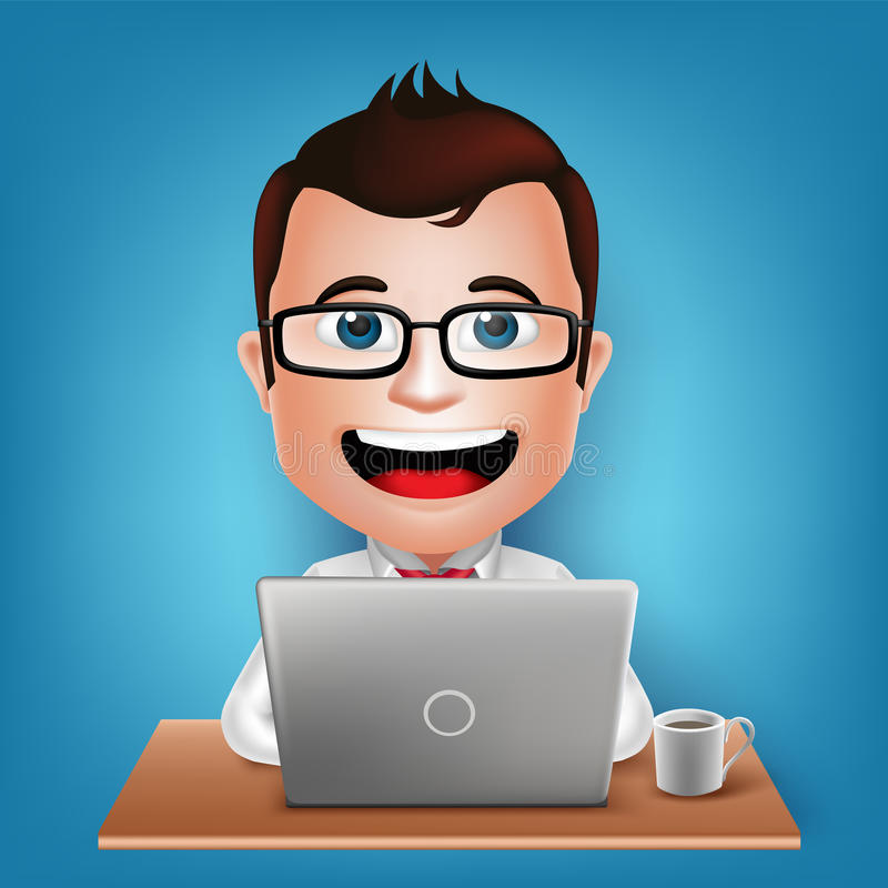 3D现实繁忙商人漫画人物坐的工作在膝上型计算机 向量例证