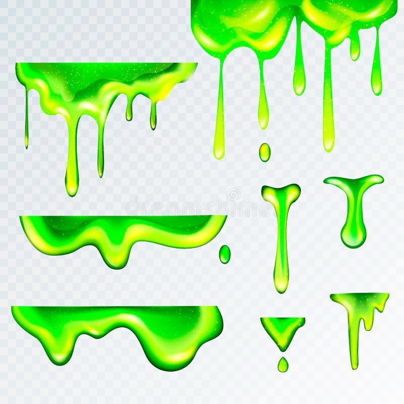 3d现实绿色黏性物质软泥,传染媒介例证 水坑、液体痛饮下落和滴水在现实主义样式 向量例证