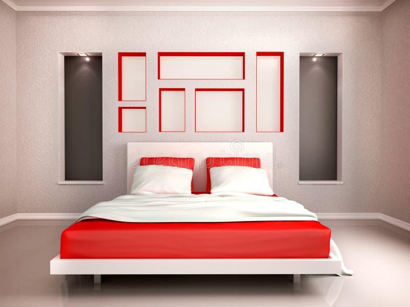 3d现代卧室内部的例证  向量例证